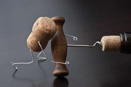 joking: wine cork and corkscrew