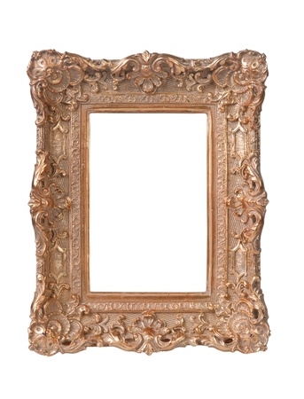 pretentious: wooden frame for a picture isolated on white background
