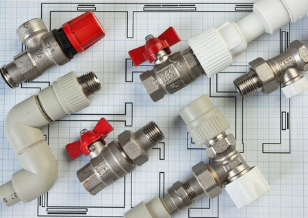 Set plumbing fittings on the drawing photo