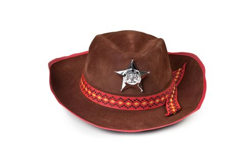 sheriffs: cowboy hat with the star sheriffs isolated on white background