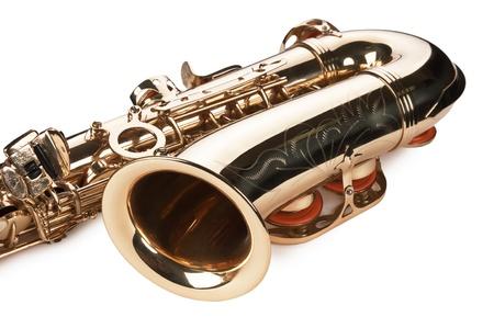 soprano saxophone: concierto de saxo sobre fondo blanco Foto de archivo