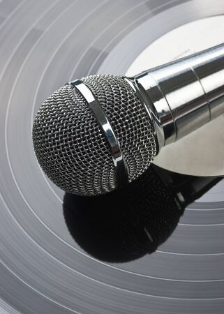 microphone and old vinyl record photo