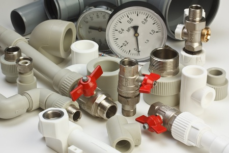 Set plumbing fittings Stock Photo