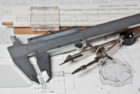 NarzÄ™dzia inżynierskie na rysunku technicznego Zdjęcie Seryjne