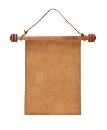 rolled scroll: Blank parchment manuscript in a wooden case isolated on white background