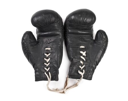 black boxing gloves isolated on white background photo