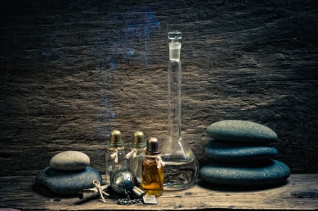 Vials of perfume oils in old fragrance lab Stock Photo - 12951580