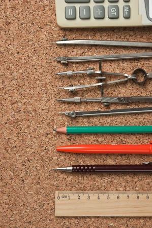 cortical: stationery on the cork board Stock Photo