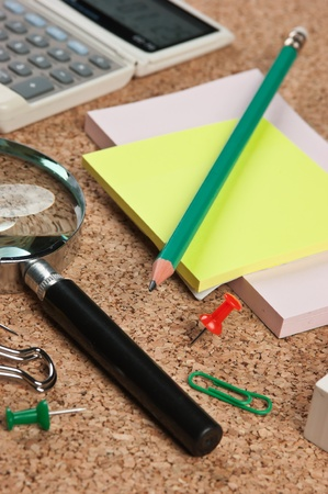 stationery in a mess on the table photo