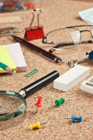 stationery in a mess on the table Stock Photo - 12951673