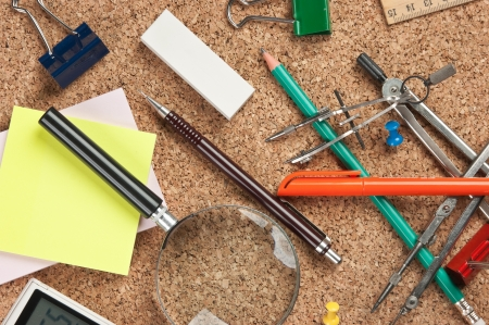 stationery in a mess on the table Stock Photo - 14150532