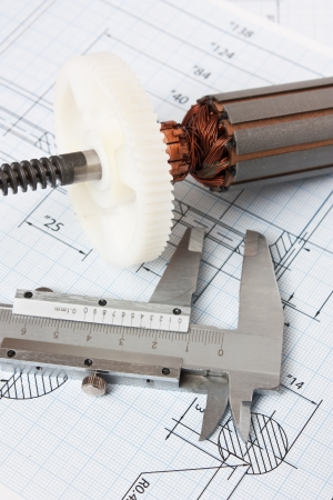 rotor: rotor electromotor and technical drawing