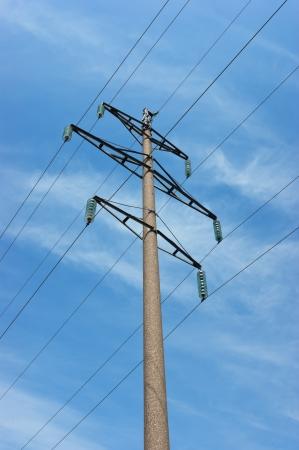 High voltage power pole against the blue sky photo
