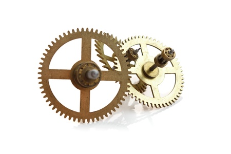 escapement: clockwork gears isolated on white background