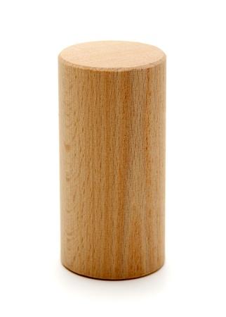 zylinder: Holz geometrischen Formen Zylinder Prisma auf einem wei�en Hintergrund