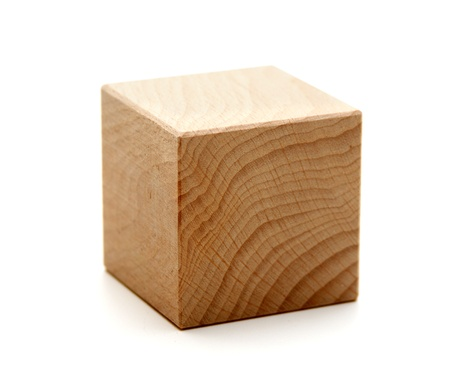wooden geometric shapes cube  isolated on a white background Stockfoto