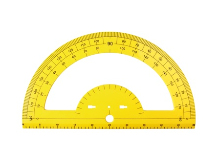 protractor: yellow school protractor isolated on a white background