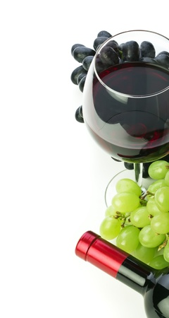 white wine bottle: bottle of wine and grapes isolated on white background