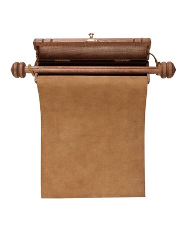 Blank parchment manuscript in a wooden case isolated on white background  photo