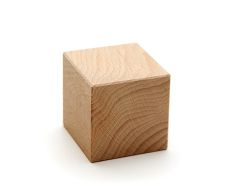 wood block: wooden geometric shapes cube  isolated on a white background Stock Photo