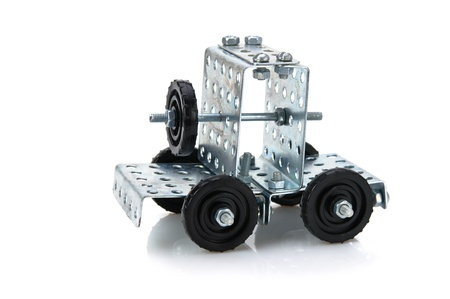delineation: truck tractor toy - metal kit for construction isolated on white background