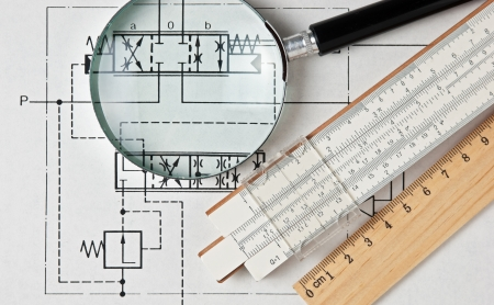 engineering tools on a technical drawing photo