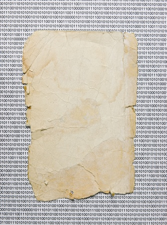 old paper on the background of a binary code Stock Photo - 15733198