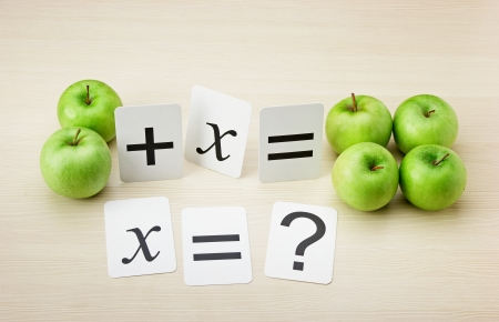 an elementary: School card and apple with math problems on the table