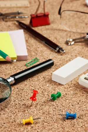 stationery in a mess on the table Stock Photo - 15885015