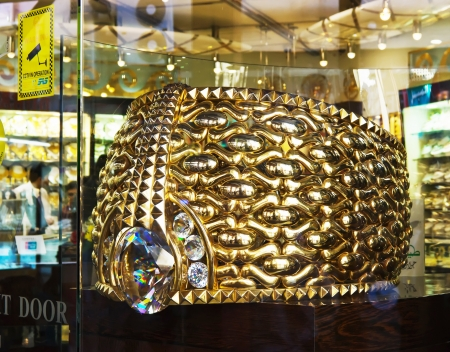 DUBAI, UAE-NOVEMBER 18  The biggest gold ring in Deira Gold Souq  weighs 63 85kg  on November 18, 2012 in Dubai, UAE