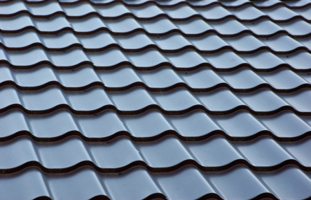 roof tile: blue  metal tile roof, background