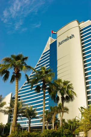 business for the middle: DUBAI, UAE-NOVEMBER 15  Jumeirah Beach Hotel on November 15, 2012 in Dubai  For the 2nd year in a row,the hotel was voted the Best Hotel in the Middle East at the 2011 Business Traveller Awards held in Germany