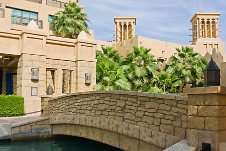 DUBAI, UAE - NOVEMBER 15: Views of Madinat Jumeirah hotel, on November 15, 2012, Dubai, UAE. Madinat Jumeirah - luxury 5 star hotel with own artificial canals and boats. Stock Photo - 16652087
