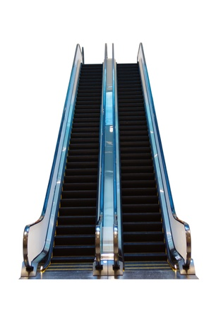 oversee: Escalator isolated on a white background Stock Photo