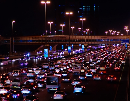traffic jams in the modern city at night