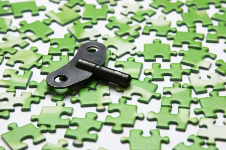 key on the green puzzle photo