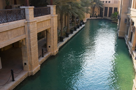 DUBAI, UAE - NOVEMBER 15: Views of Madinat Jumeirah hotel, on November 15, 2012, Dubai, UAE. Madinat Jumeirah - luxury 5 star hotel with own artificial canals and boats. Stock Photo - 17119165