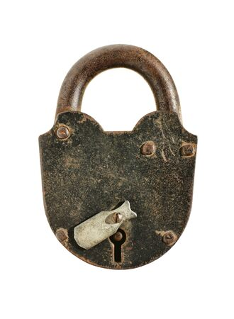 rusty padlock: old padlock isolated on a white background