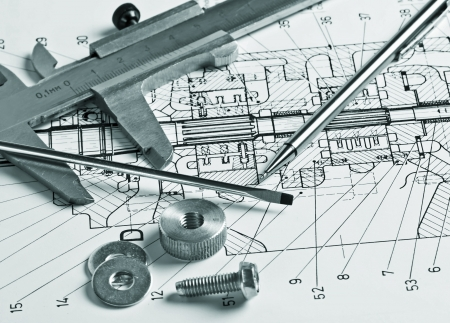 delineation: mechanical scheme and calipers with details Stock Photo