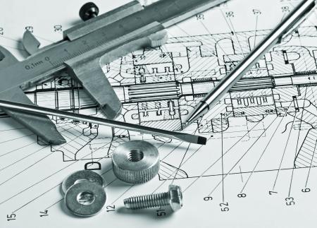 mechanische regeling en remklauwen met details Stockfoto