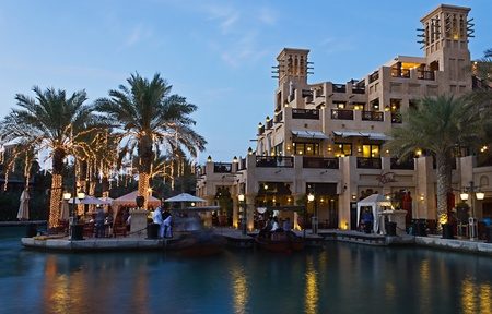 DUBAI, UAE - NOVEMBER 15: Night view of Madinat Jumeirah hotel, on November 15, 2012, Dubai, UAE. Madinat Jumeirah - luxury 5 star hotel with own artificial canals and boats. Stock Photo - 17176237