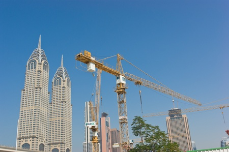 DUBAI, UAE-NOVEMBER 12: View of the Chrysler building in Dubai on November 12, 2012.  Dubai builds two imitations of NYC Chrysler building.