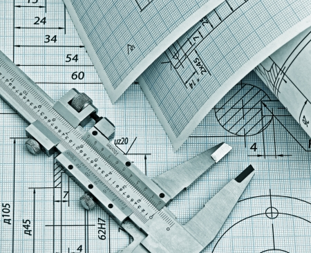 mechanical engineering: twisted technical drawing and callipers