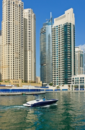 DUBAI, UAE - NOVEMBER 16: Modern buildings in Dubai Marina, on November 16, 2012, Dubai, UAE. In the city of artificial channel length of 3 kilometers along the Persian Gulf. Stock Photo - 17202249