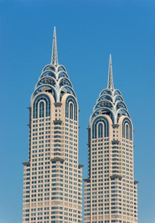 chrysler: DUBAI, UAE-NOVEMBER 12: View of the Chrysler building in Dubai on November 12, 2012.  Dubai builds two imitations of NYC Chrysler building.