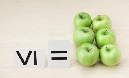 romeinse cijfers: Romeinse cijfers en appels Stockfoto