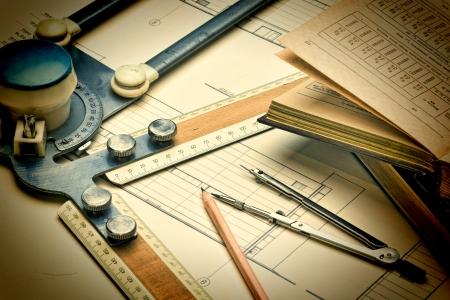 oude tekening toestellen en instrumenten Stockfoto