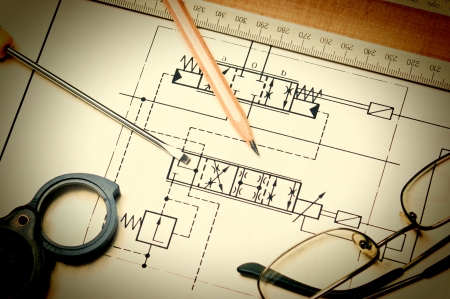 technical schemes with a pencil and ruler Stock Photo - 18385620