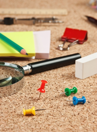 stationery in a mess on the table Stock Photo - 18492587