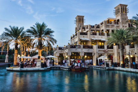 DUBAI, UAE - NOVEMBER 15: Night view of Madinat Jumeirah hotel, on November 15, 2012, Dubai, UAE. Madinat Jumeirah - luxury 5 star hotel with own artificial canals and boats. Stock Photo - 18480019